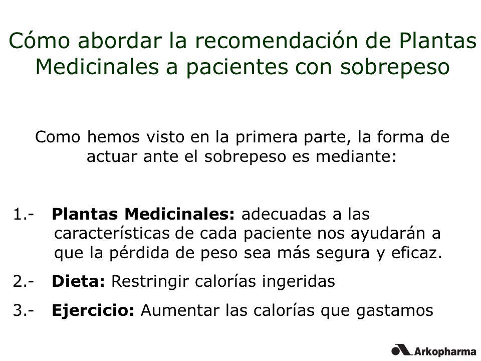 Cómo abordar la recomendación de Plantas Medicinales a pacientes con sobrepeso Como hemos visto en la primera parte, la forma de actuar ante el sobrep