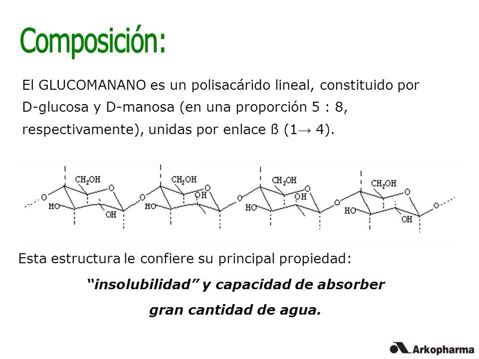 El GLUCOMANANO es un polisacárido lineal, constituido por D-glucosa y D-manosa (en una proporción 5 : 8, respectivamente), unidas por enlace ß (1 4).