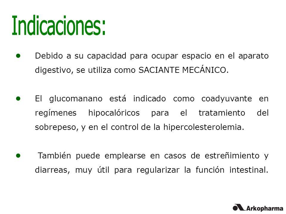 Debido a su capacidad para ocupar espacio en el aparato digestivo, se utiliza como SACIANTE MECÁNICO. El glucomanano está indicado como coadyuvante en