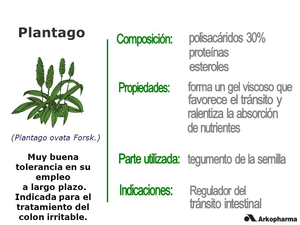 Plantago (Plantago ovata Forsk.) Muy buena tolerancia en su empleo a largo plazo. Indicada para el tratamiento del colon irritable.