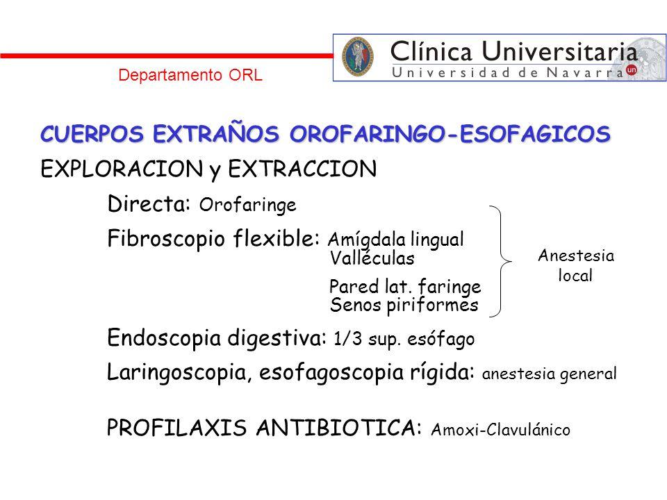 Departamento ORL CUERPOS EXTRAÑOS OROFARINGO-ESOFAGICOS EXPLORACION y EXTRACCION Directa: Orofaringe Fibroscopio flexible: Amígdala lingual Valléculas