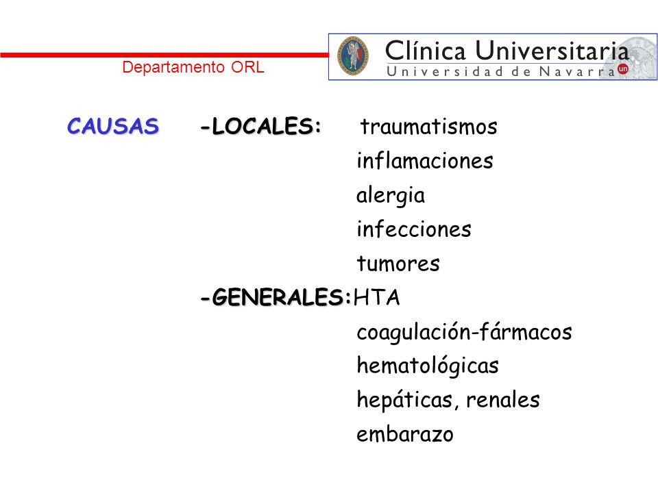 CAUSAS-LOCALES: CAUSAS-LOCALES: traumatismos inflamaciones alergia infecciones tumores -GENERALES: -GENERALES:HTA coagulación-fármacos hematológicas h