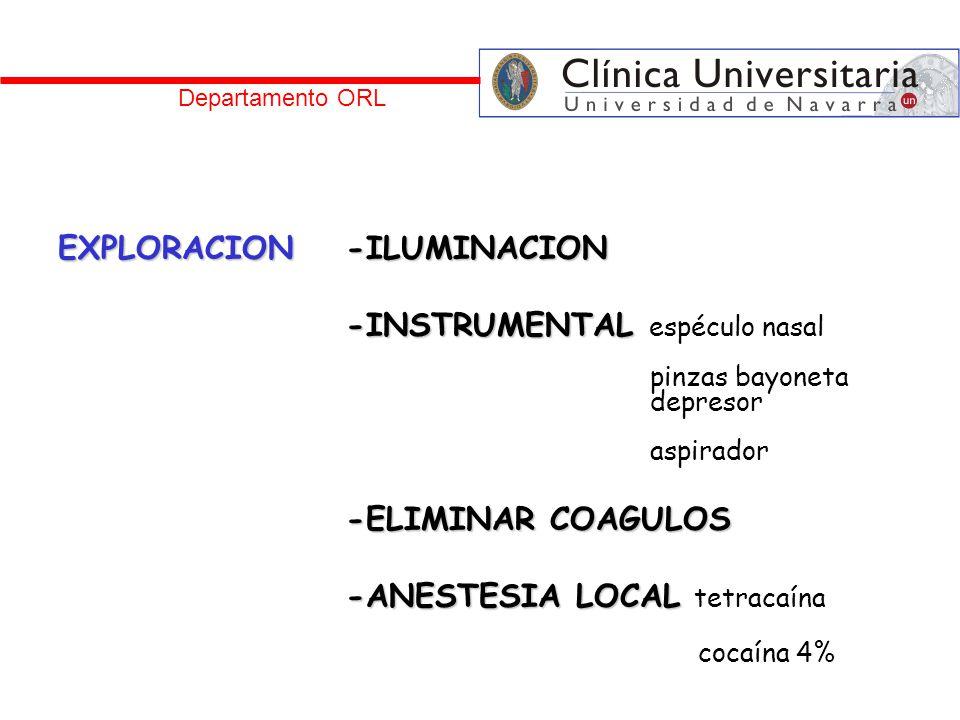 Departamento ORL EXPLORACION-ILUMINACION -INSTRUMENTAL -INSTRUMENTAL espéculo nasal pinzas bayoneta depresor aspirador -ELIMINAR COAGULOS -ANESTESIA L