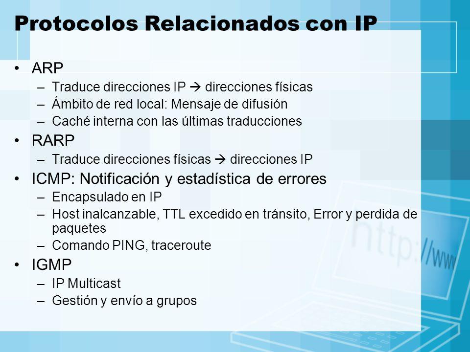 Protocolos Relacionados con IP ARP –Traduce direcciones IP direcciones físicas –Ámbito de red local: Mensaje de difusión –Caché interna con las última