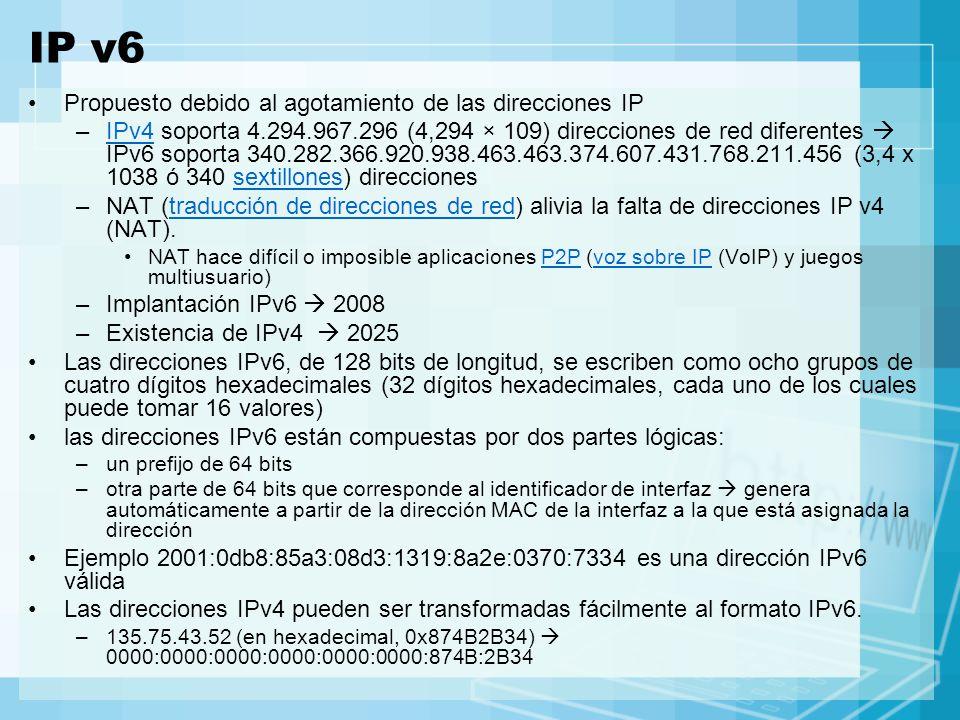 IP v6 Propuesto debido al agotamiento de las direcciones IP –IPv4 soporta 4.294.967.296 (4,294 × 109) direcciones de red diferentes IPv6 soporta 340.2