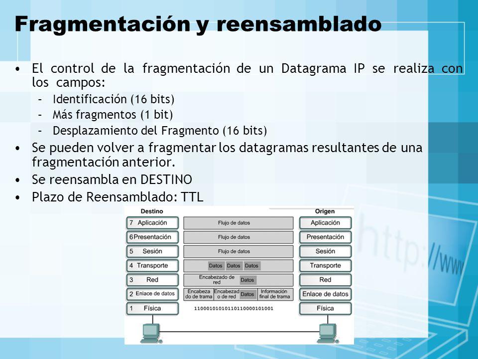 Fragmentación y reensamblado El control de la fragmentación de un Datagrama IP se realiza con los campos: –Identificación (16 bits) –Más fragmentos (1