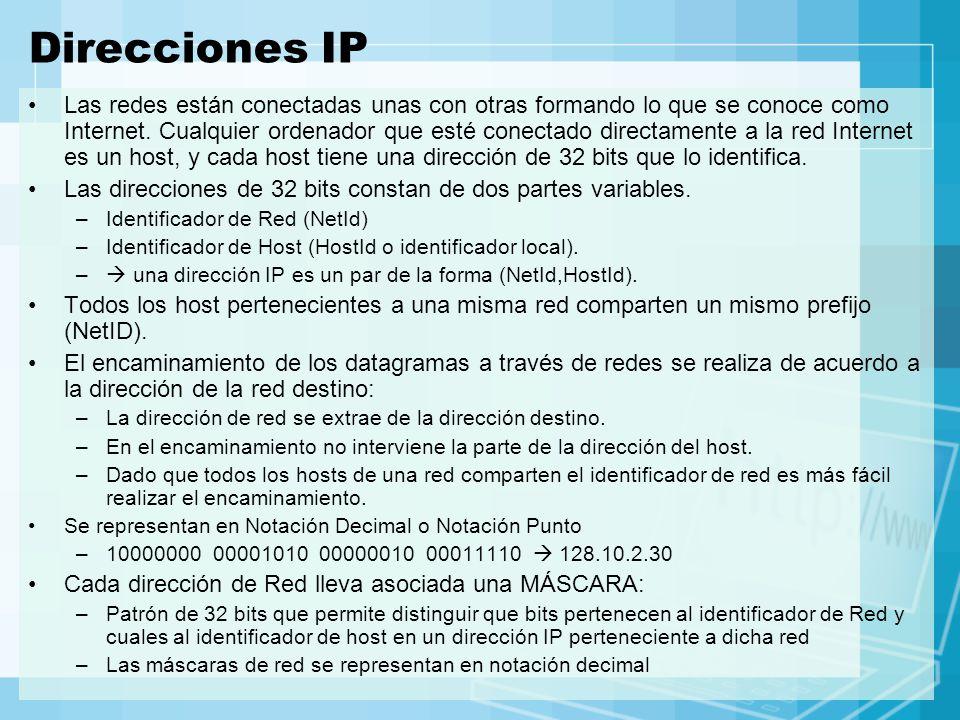 Direcciones IP Las redes están conectadas unas con otras formando lo que se conoce como Internet. Cualquier ordenador que esté conectado directamente