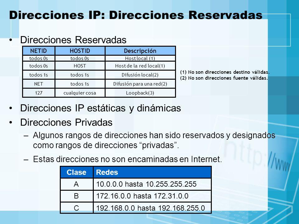 Direcciones IP: Direcciones Reservadas Direcciones Reservadas Loopback(3)cualquier cosa127 Difusión para una red(2)todos 1sNET Difusión local(2)todos