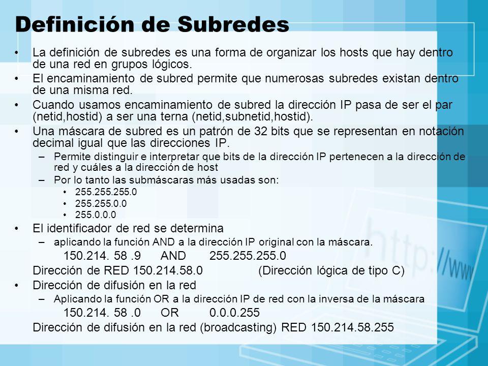 Definición de Subredes La definición de subredes es una forma de organizar los hosts que hay dentro de una red en grupos lógicos. El encaminamiento de