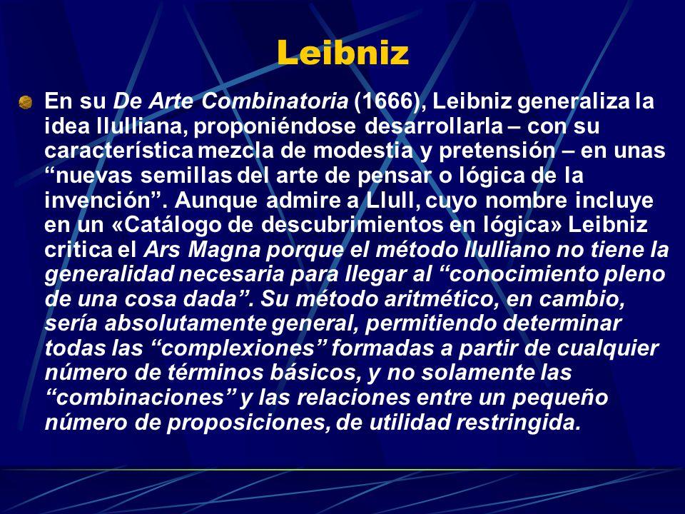 Leibniz En su De Arte Combinatoria (1666), Leibniz generaliza la idea llulliana, proponiéndose desarrollarla – con su característica mezcla de modestia y pretensión – en unas nuevas semillas del arte de pensar o lógica de la invención.