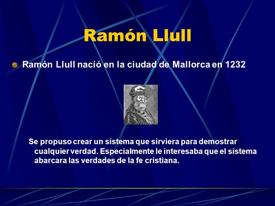 Ramón Llull Ramón Llull nació en la ciudad de Mallorca en 1232 Se propuso crear un sistema que sirviera para demostrar cualquier verdad. Especialmente