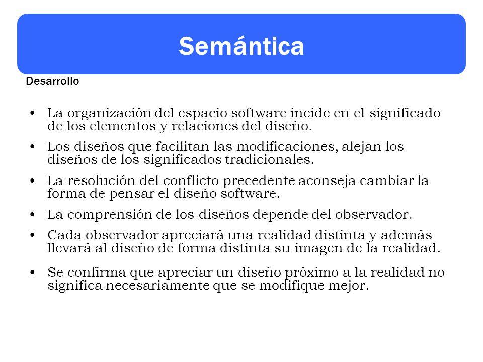 Semántica La organización del espacio software incide en el significado de los elementos y relaciones del diseño. Los diseños que facilitan las modifi