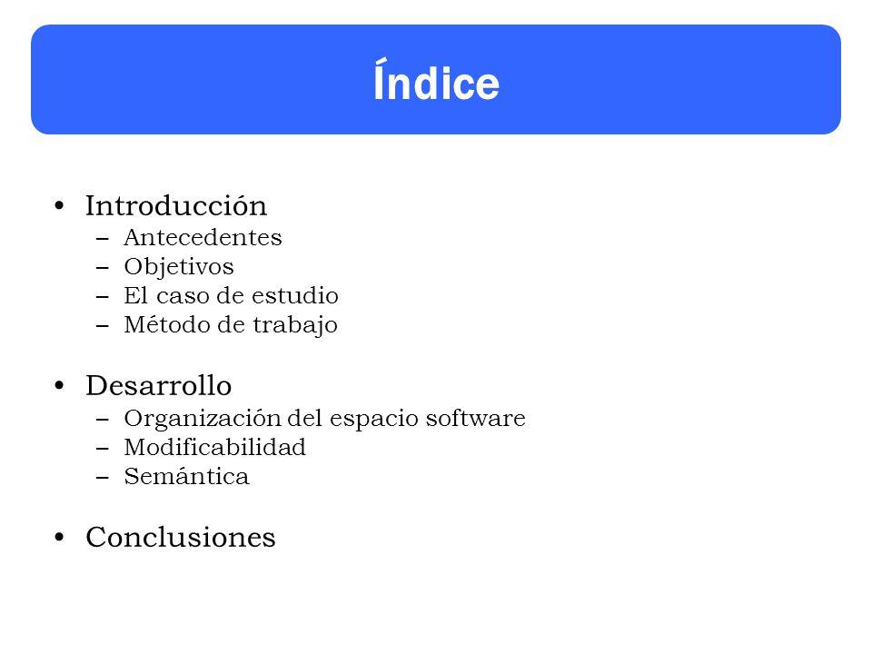 Índice Introducción –Antecedentes –Objetivos –El caso de estudio –Método de trabajo Desarrollo –Organización del espacio software –Modificabilidad –Semántica Conclusiones