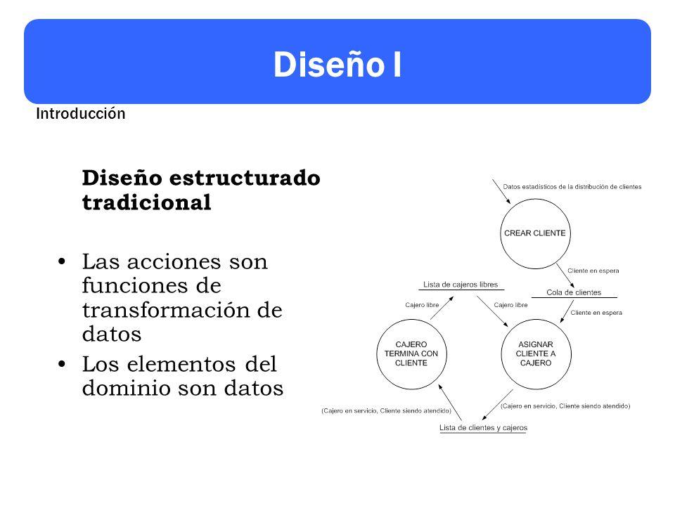Diseño I Diseño estructurado tradicional Las acciones son funciones de transformación de datos Los elementos del dominio son datos Introducción