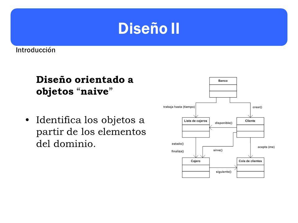 Diseño II Diseño orientado a objetos naive Identifica los objetos a partir de los elementos del dominio. Introducción