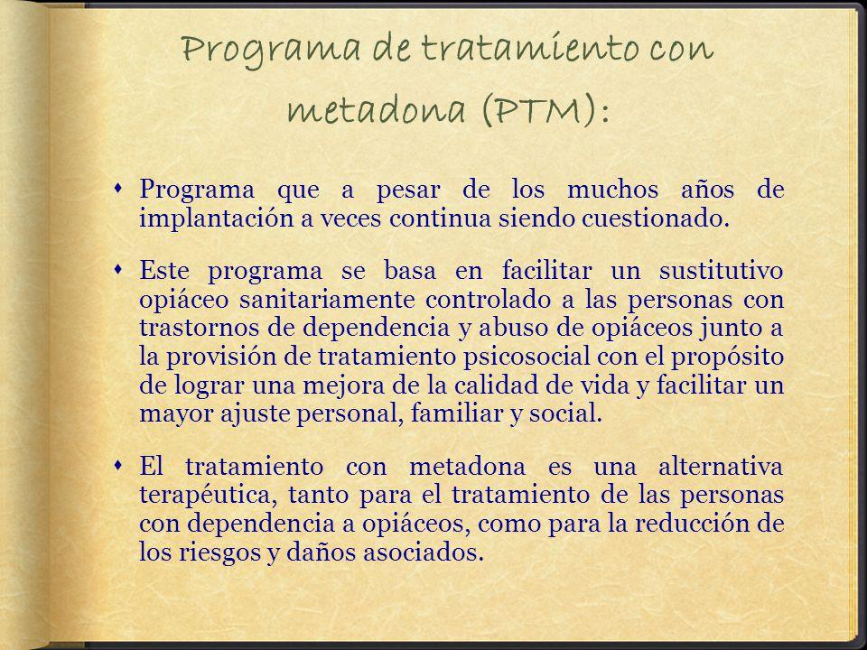 Programa de tratamiento con metadona (PTM): Programa que a pesar de los muchos años de implantación a veces continua siendo cuestionado.