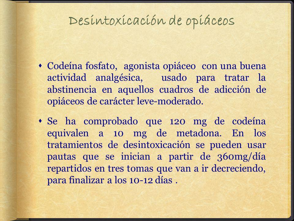 Desintoxicación de opiáceos Codeína fosfato, agonista opiáceo con una buena actividad analgésica, usado para tratar la abstinencia en aquellos cuadros de adicción de opiáceos de carácter leve-moderado.