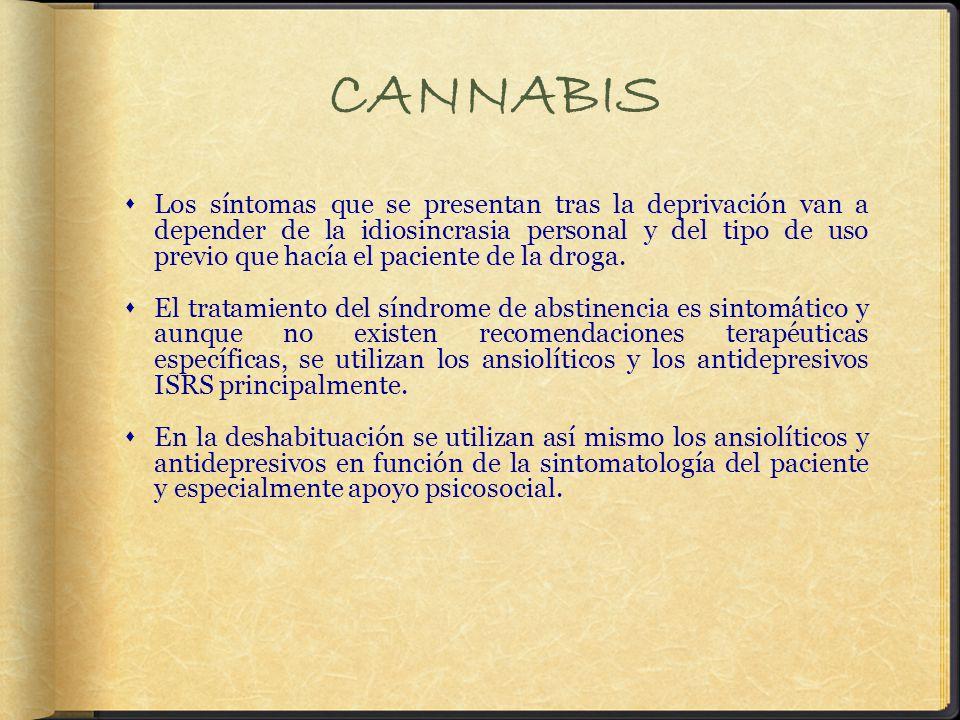 CANNABIS Los síntomas que se presentan tras la deprivación van a depender de la idiosincrasia personal y del tipo de uso previo que hacía el paciente de la droga.