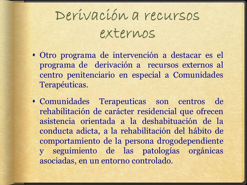Derivación a recursos externos Otro programa de intervención a destacar es el programa de derivación a recursos externos al centro penitenciario en especial a Comunidades Terapéuticas.
