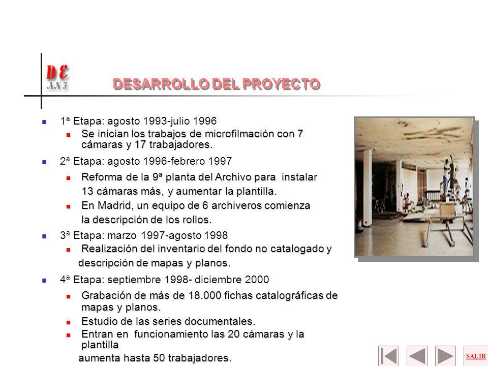 1ª Etapa: agosto 1993-julio 1996 Se inician los trabajos de microfilmación con 7 cámaras y 17 trabajadores. Se inician los trabajos de microfilmación