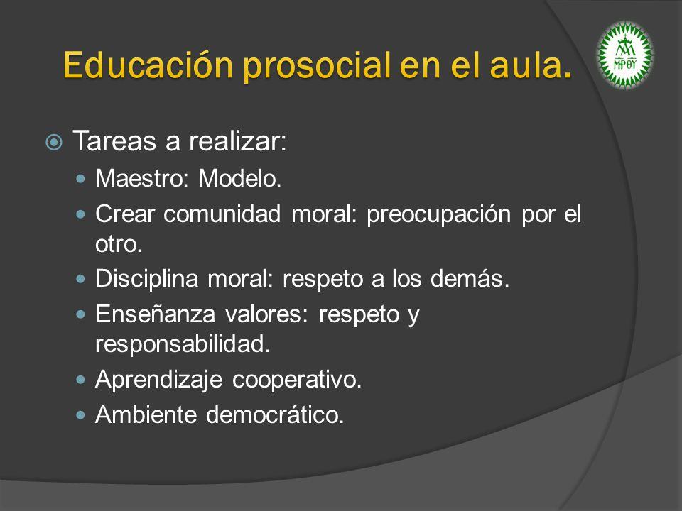 Tareas a realizar: Maestro: Modelo. Crear comunidad moral: preocupación por el otro. Disciplina moral: respeto a los demás. Enseñanza valores: respeto