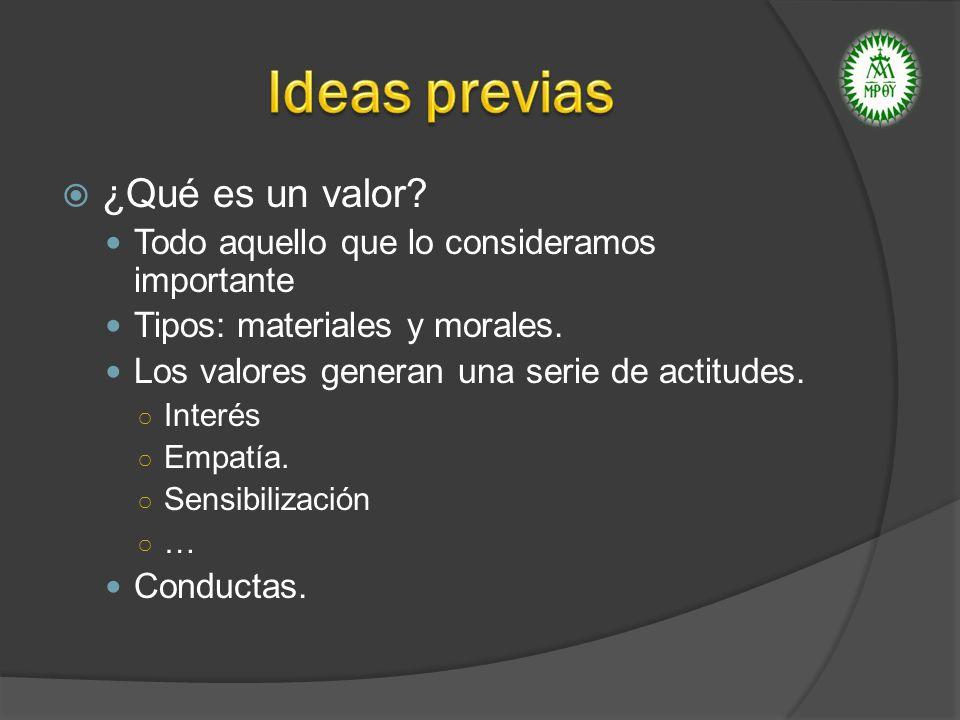 ¿Qué es un valor? Todo aquello que lo consideramos importante Tipos: materiales y morales. Los valores generan una serie de actitudes. Interés Empatía