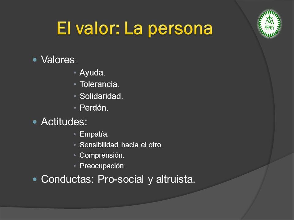 ALTRUISMO: Disposición a hacer el bien a las persona.