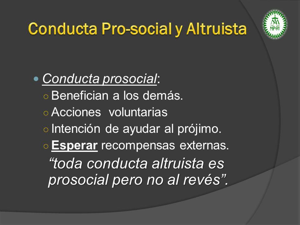 Conducta prosocial: Benefician a los demás. Acciones voluntarias Intención de ayudar al prójimo. Esperar recompensas externas. toda conducta altruista