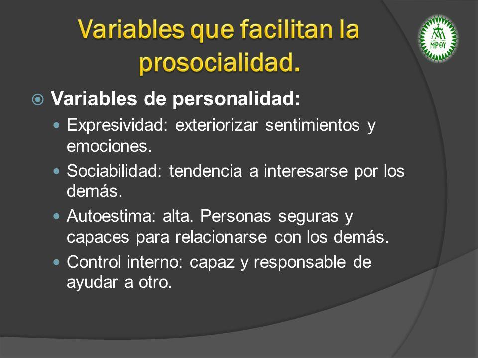 Variables de personalidad: Expresividad: exteriorizar sentimientos y emociones. Sociabilidad: tendencia a interesarse por los demás. Autoestima: alta.