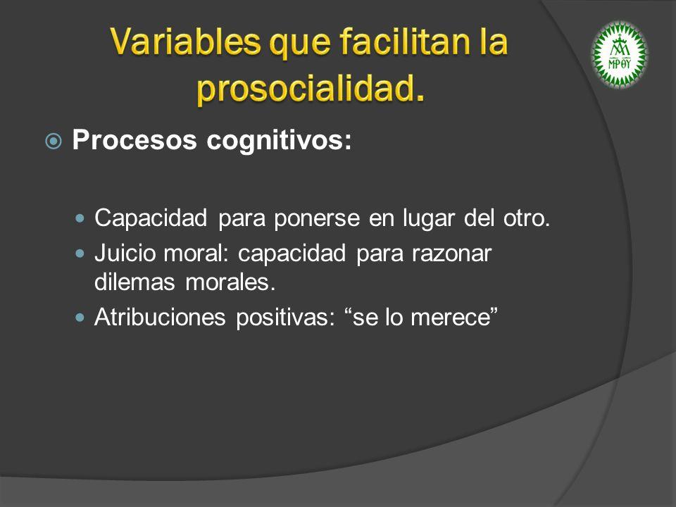 Procesos cognitivos: Capacidad para ponerse en lugar del otro. Juicio moral: capacidad para razonar dilemas morales. Atribuciones positivas: se lo mer