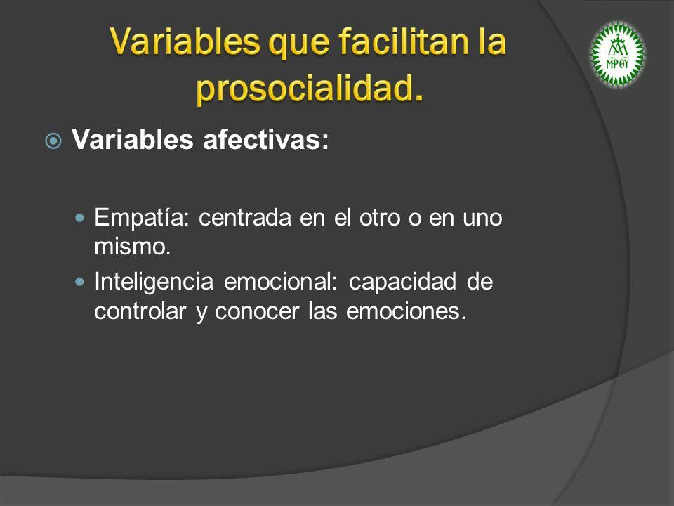 Variables afectivas: Empatía: centrada en el otro o en uno mismo. Inteligencia emocional: capacidad de controlar y conocer las emociones.
