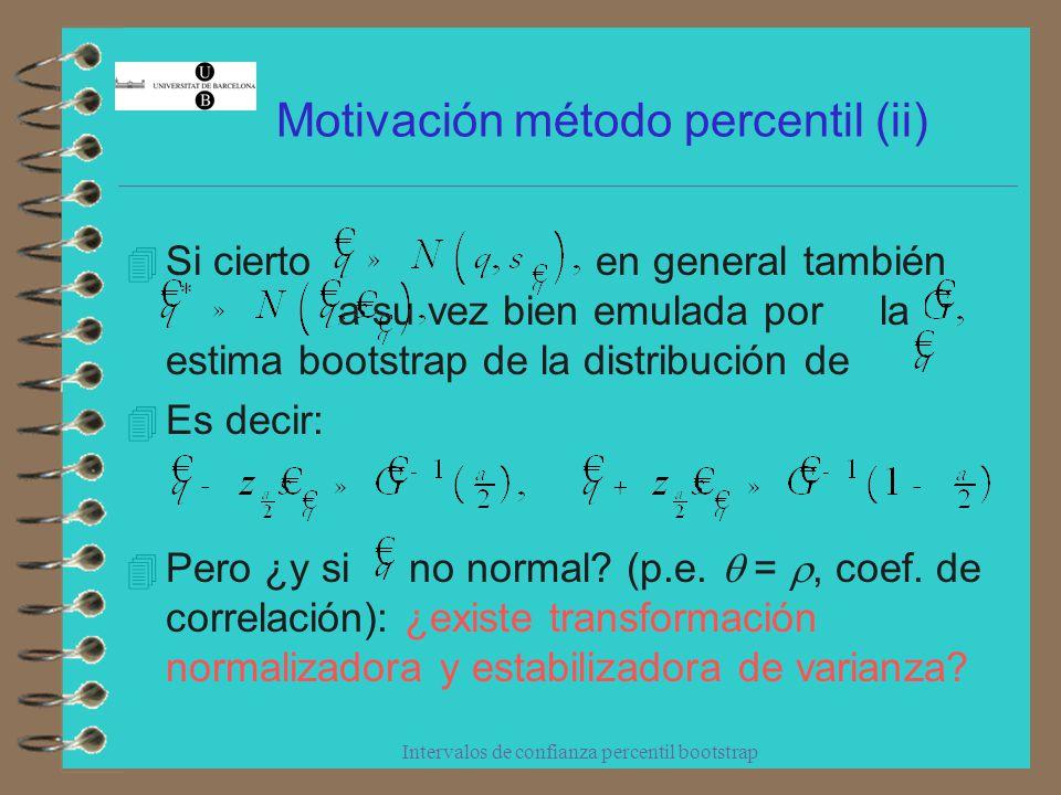 Intervalos de confianza percentil bootstrap Motivación método percentil (y iii) Si existe g, monótona creciente, tal que En escala f, intervalo percentil estándar Monotonicidad de g en escala q = g -1 (f), IC percentil (¡obtenido directamente, sin conocer g!) aproximadamente correcto