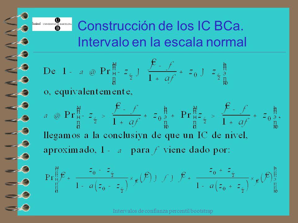 Intervalos de confianza percentil bootstrap Construcción de los IC Bca.