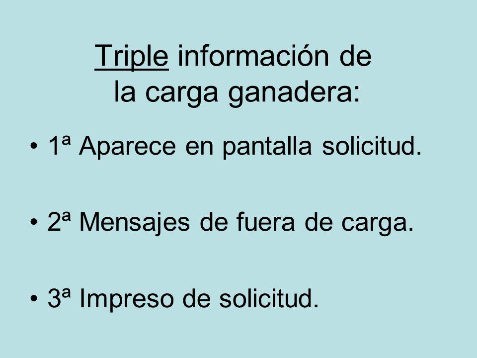 Triple información de la carga ganadera: 1ª Aparece en pantalla solicitud. 2ª Mensajes de fuera de carga. 3ª Impreso de solicitud.
