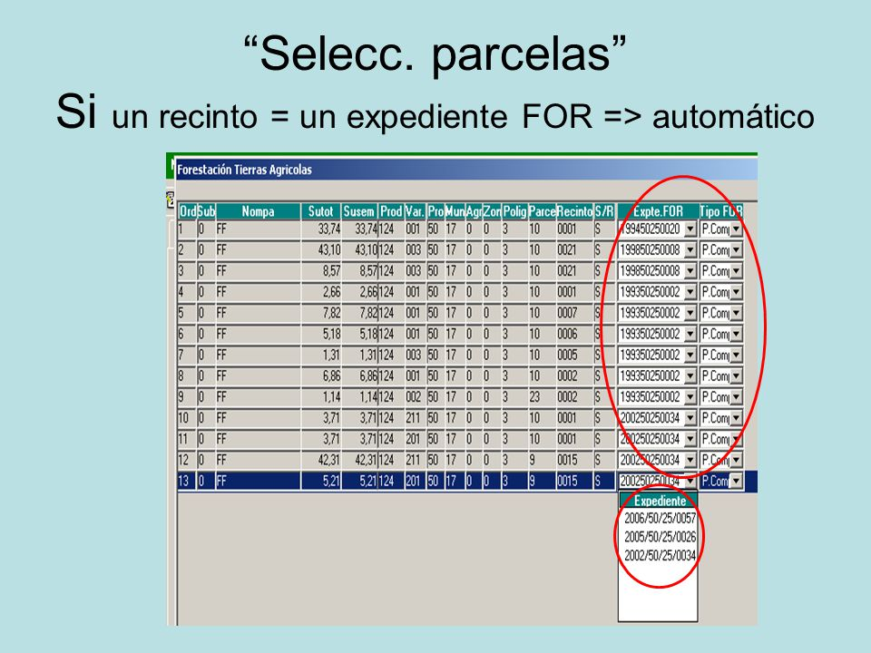 Selecc. parcelas Si un recinto = un expediente FOR => automático