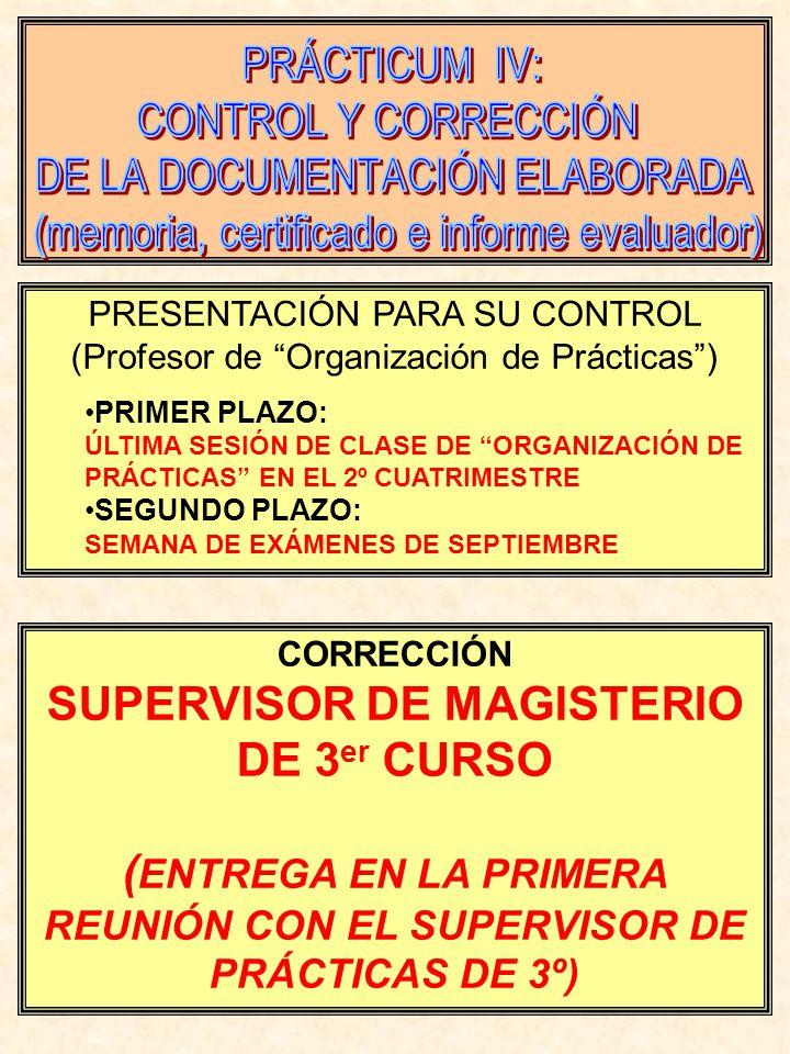 PRESENTACIÓN PARA SU CONTROL (Profesor de Organización de Prácticas) PRIMER PLAZO: ÚLTIMA SESIÓN DE CLASE DE ORGANIZACIÓN DE PRÁCTICAS EN EL 2º CUATRIMESTRE SEGUNDO PLAZO: SEMANA DE EXÁMENES DE SEPTIEMBRE CORRECCIÓN SUPERVISOR DE MAGISTERIO DE 3 er CURSO ( ENTREGA EN LA PRIMERA REUNIÓN CON EL SUPERVISOR DE PRÁCTICAS DE 3º)