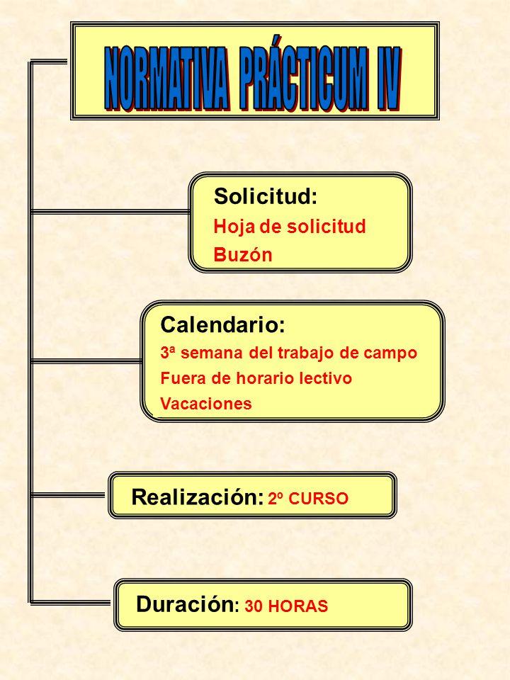 Solicitud: Hoja de solicitud Buzón Calendario: 3ª semana del trabajo de campo Fuera de horario lectivo Vacaciones Realización: 2º CURSO Duración : 30 HORAS