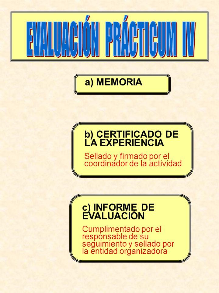 a) MEMORIA b) CERTIFICADO DE LA EXPERIENCIA Sellado y firmado por el coordinador de la actividad c) INFORME DE EVALUACIÓN Cumplimentado por el responsable de su seguimiento y sellado por la entidad organizadora