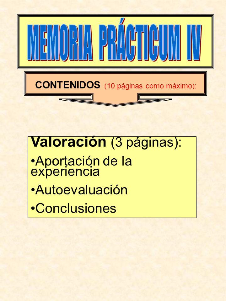 CONTENIDOS (10 páginas como máximo): Valoración (3 páginas): Aportación de la experiencia Autoevaluación Conclusiones