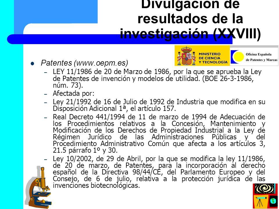 Patentes (www.oepm.es) – LEY 11/1986 de 20 de Marzo de 1986, por la que se aprueba la Ley de Patentes de invención y modelos de utilidad. (BOE 26-3-19