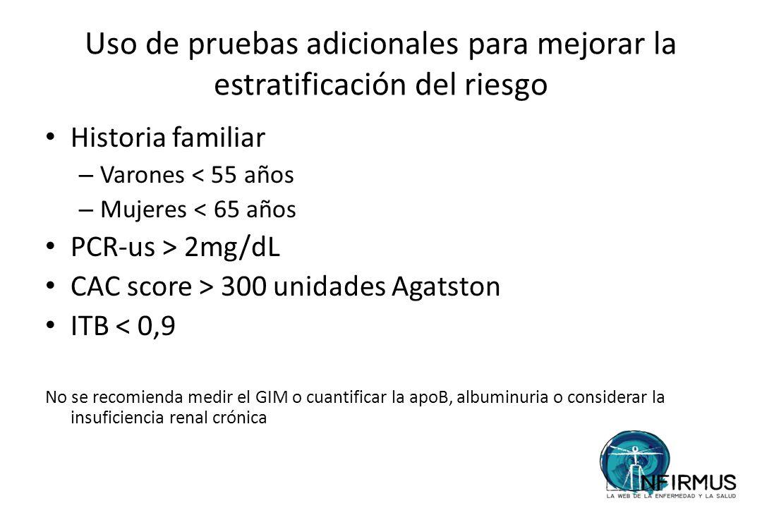 Uso de pruebas adicionales para mejorar la estratificación del riesgo Historia familiar – Varones < 55 años – Mujeres < 65 años PCR-us > 2mg/dL CAC sc