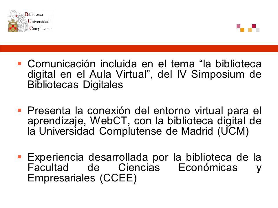 Conexión CV-UCM con la Biblioteca de CC. Económicas y Empresariales