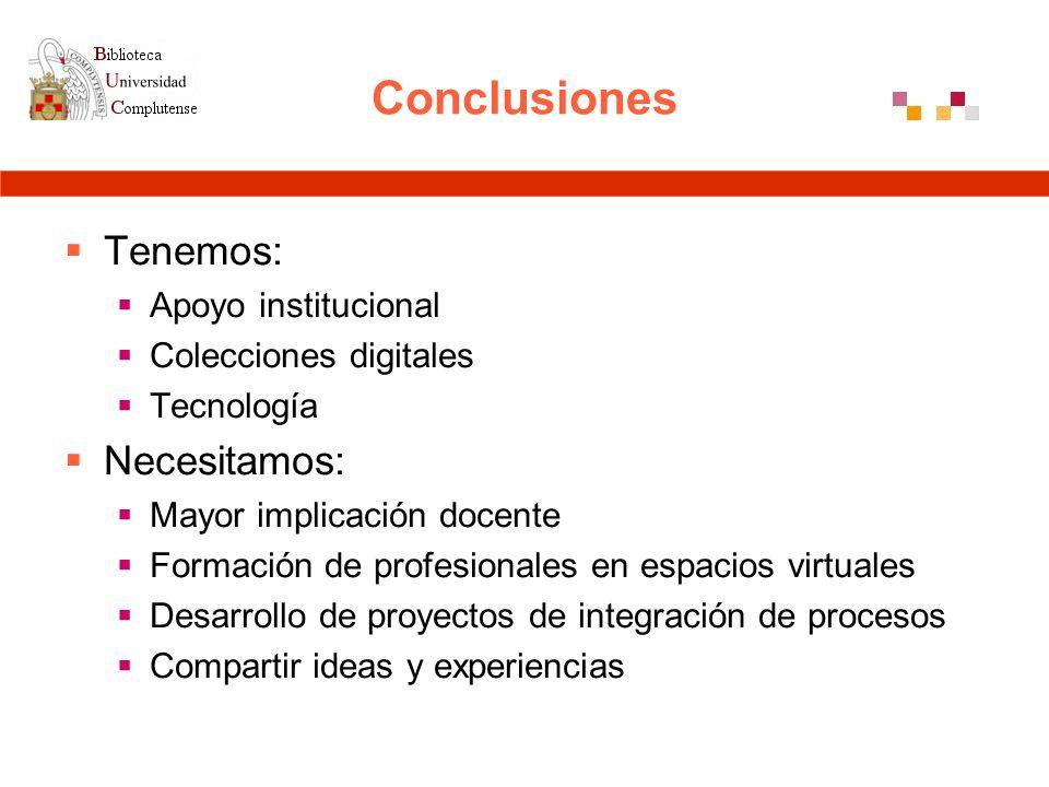 Conclusiones Tenemos: Apoyo institucional Colecciones digitales Tecnología Necesitamos: Mayor implicación docente Formación de profesionales en espacios virtuales Desarrollo de proyectos de integración de procesos Compartir ideas y experiencias