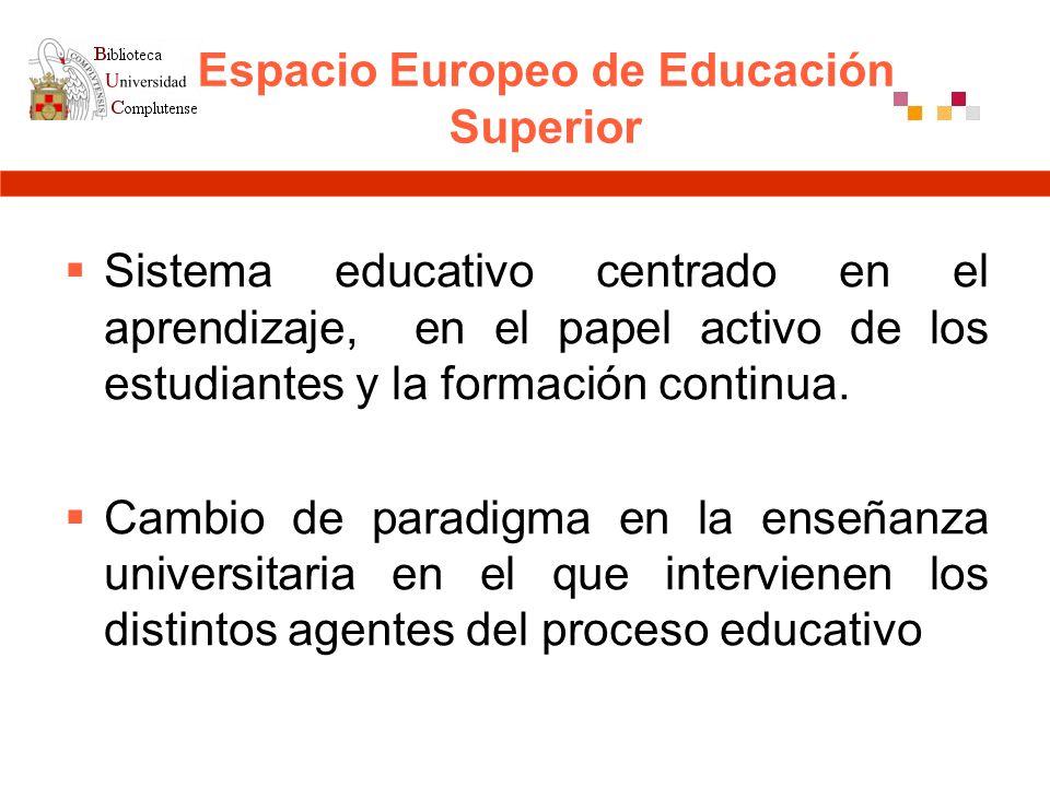 Espacio Europeo de Educación Superior Sistema educativo centrado en el aprendizaje, en el papel activo de los estudiantes y la formación continua.