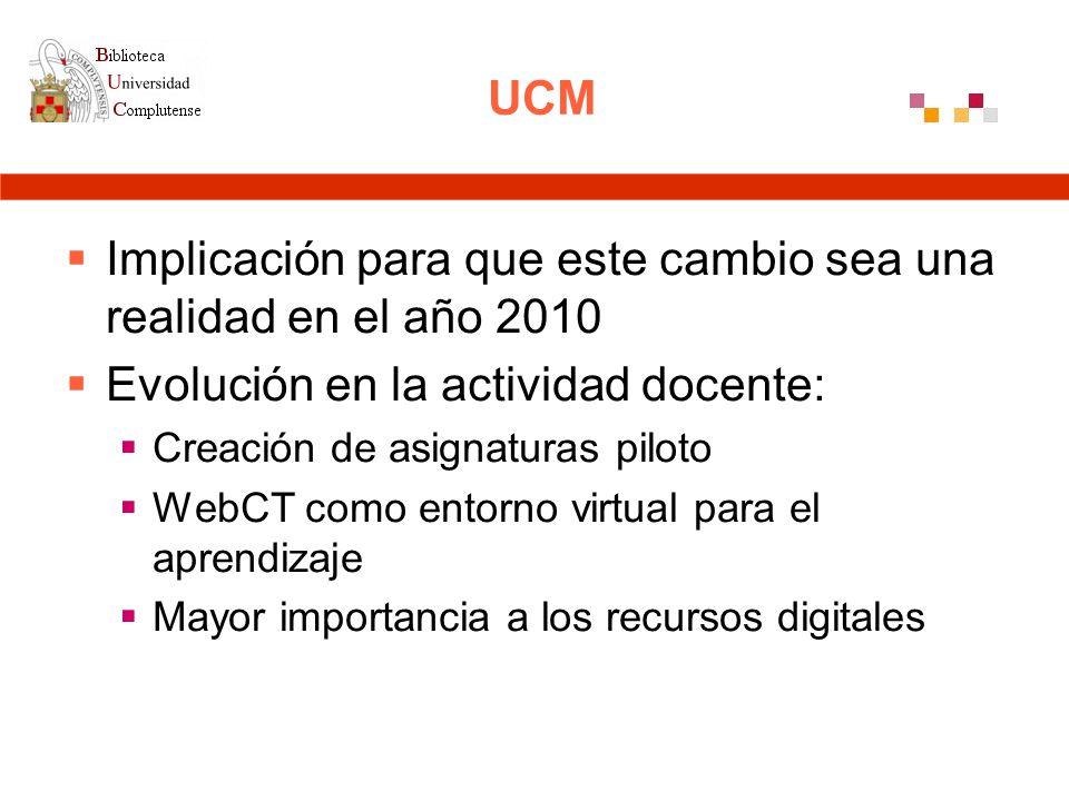 UCM Implicación para que este cambio sea una realidad en el año 2010 Evolución en la actividad docente: Creación de asignaturas piloto WebCT como entorno virtual para el aprendizaje Mayor importancia a los recursos digitales
