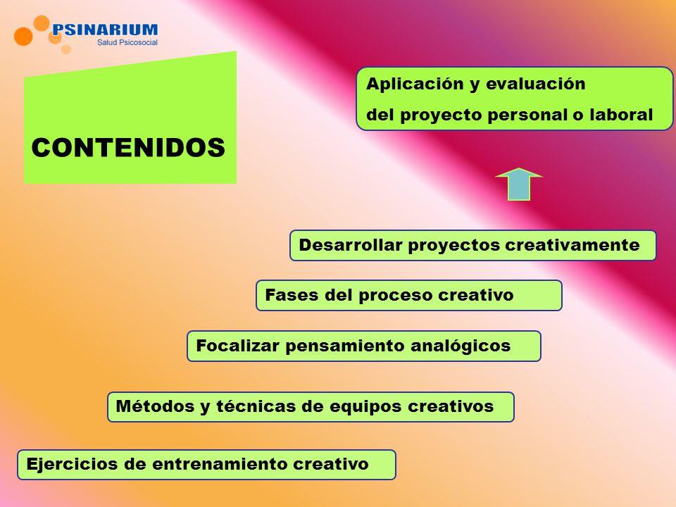 Ejercicios de entrenamiento creativo Métodos y técnicas de equipos creativos Focalizar pensamiento analógicos Fases del proceso creativo Desarrollar proyectos creativamente Aplicación y evaluación del proyecto personal o laboral CONTENIDOS