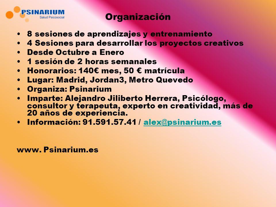 Organización 8 sesiones de aprendizajes y entrenamiento 4 Sesiones para desarrollar los proyectos creativos Desde Octubre a Enero 1 sesión de 2 horas