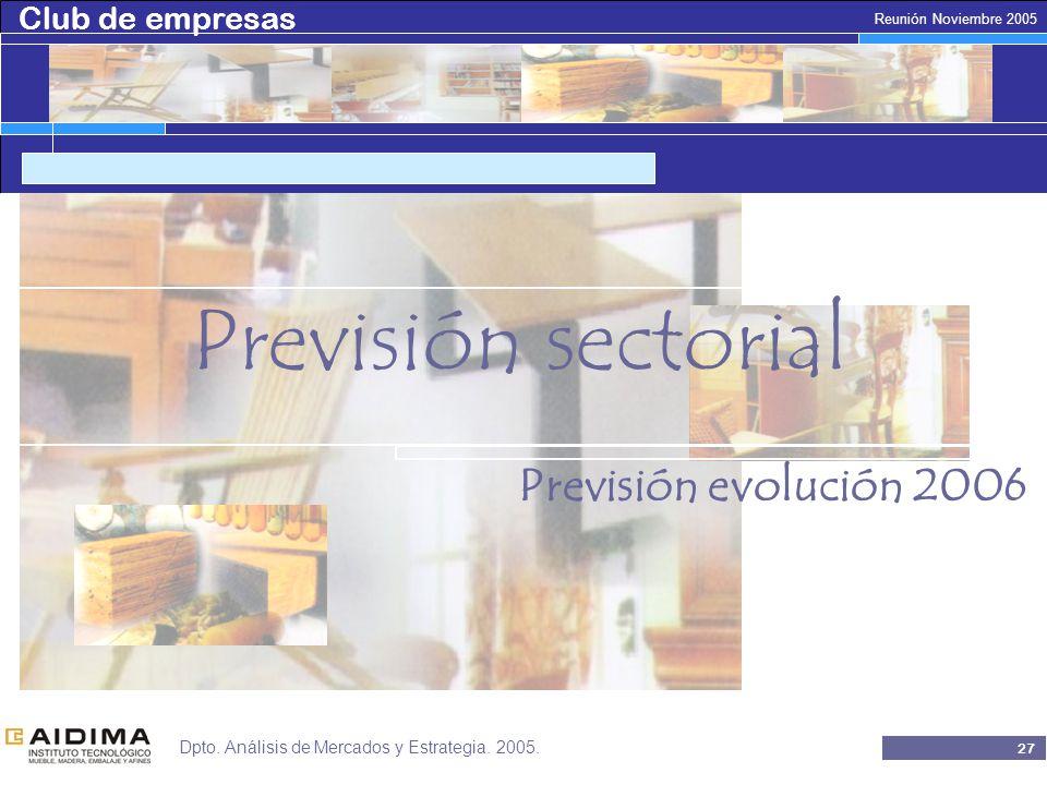 Club de empresas 26 Reunión Noviembre 2005 Dpto. Análisis de Mercados y Estrategia.