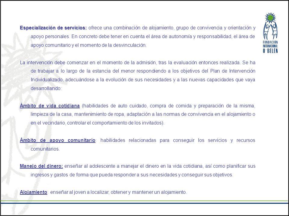 Especialización de servicios: Especialización de servicios: ofrece una combinación de alojamiento, grupo de convivencia y orientación y apoyo personal