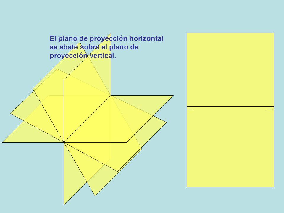 El plano de proyección horizontal se abate sobre el plano de proyección vertical.